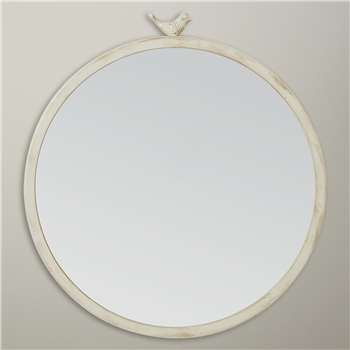 John Lewis Distressed Brass Bird Round Mirror, Dia.43cm
