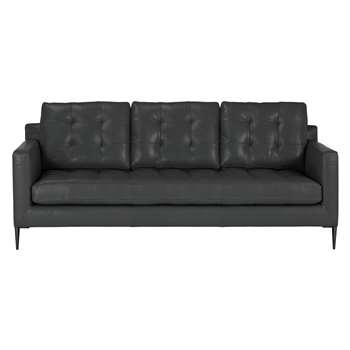 John Lewis & Partners Draper Large 3 Seater Sofa, Metal Leg, Winchester Anthracite Leather (H87 x W202 x D95cm)