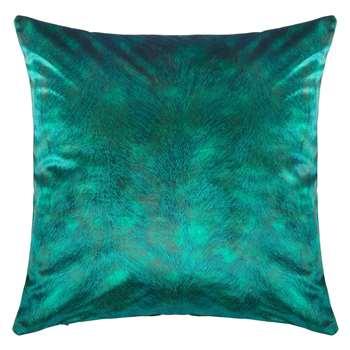 John Lewis & Partners Italian Velvet Square Cushion, Dark Spruce (H50 x W50cm)