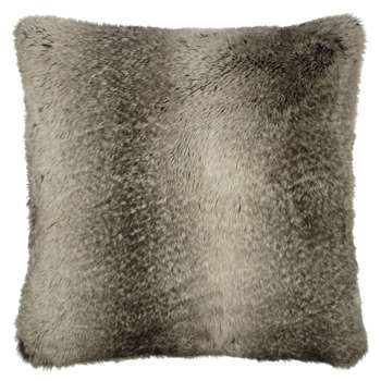 John Lewis Faux Fur Cushion, Ombre Mocha (59 x 59cm)