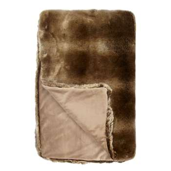 John Lewis Faux Fur Throw, Golden Brown (H150 x W200cm)