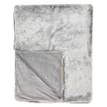John Lewis Faux Fur Throw, Grey (150 x 200cm)