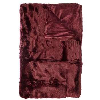John Lewis Faux Fur Throw, Mulberry (150 x 200cm)