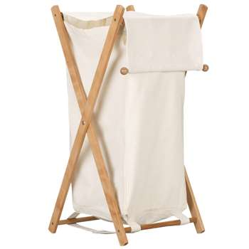 John Lewis Foldable Laundry Hamper, White 83 x 36cm