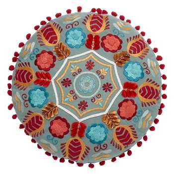 John Lewis Folklore Round Embroidered Cushion (40 x 40cm)