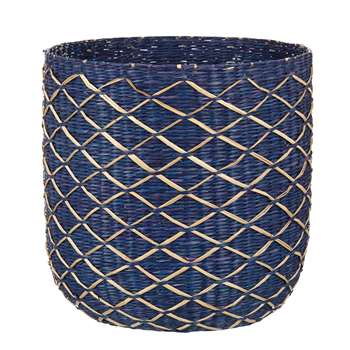 John Lewis Fusion Blue Weave Waste Paper Bin, Blue Cobalt (Height 28cm)