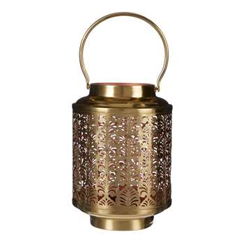 John Lewis Fusion Etched Copper Inner Lantern, Gold (18 x 12.5cm)