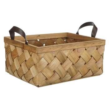 John Lewis Fusion Woven Wood Basket (H19 x W30.5 x D38cm)