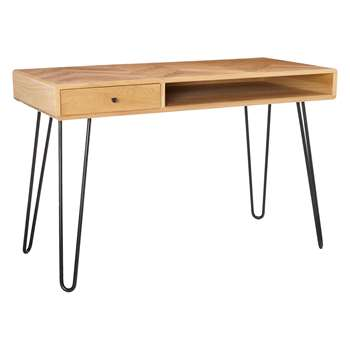 John Lewis & Partners Hairpin Desk, Oak (H76 x W120 x D55cm)