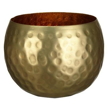 John Lewis & Partners Hammered Tealight Holder, Brass (H7.7 x W10 x D10cm)