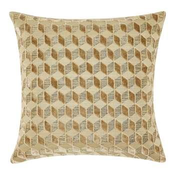 John Lewis Hanover Velvet Cushion, Gold (H43 x W43cm)