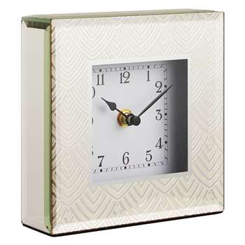 John Lewis Jazz Glass Square Mantel Clock, Gold (15 x 15cm)
