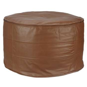 John Lewis Leather Pouffe, Tan (Diameter 64cm)