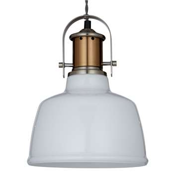 John Lewis Lloyd Glass White Pendant Ceiling Light, Satin Nickel (17.5 x 30cm)