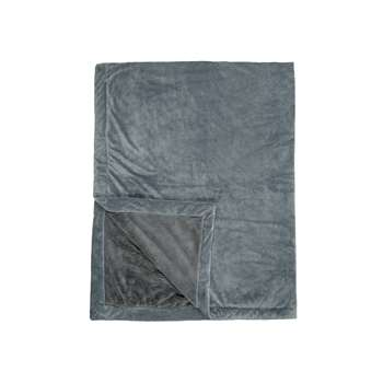 John Lewis & Partners Luxury Plush Fleece Throw, Grey (H150 x W200cm)
