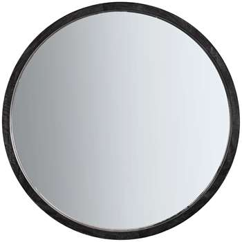 John Lewis & Partners Marx Wood Inlay Boho Round Mirror, Natural (H90 x W90 x D6cm)