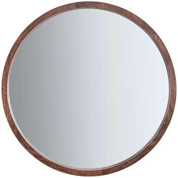 John Lewis Marx Wood Inlay Framed Round Mirror, Natural (H90 x W90 x D6cm)