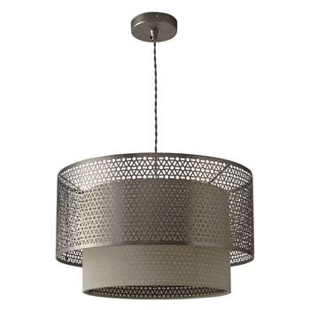 John Lewis Meena Fretwork Steel Pendant Light (25 x 40.5cm)
