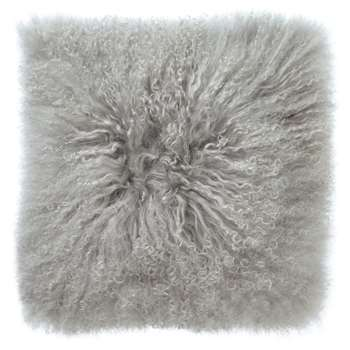John Lewis Mongolian Faux Fur Cushion, Grey (H40 x W40cm)