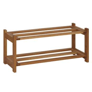 John Lewis Oak Wood Shoe Rack, 2 Tier (30 x 70cm)