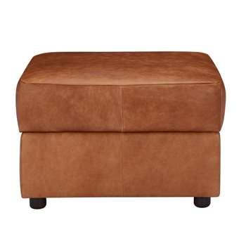 John Lewis Oliver Leather Storage Footstool, Dark Leg, Lustre Cappucino (48 x 68cm)