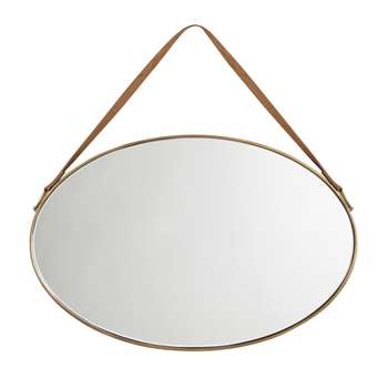 John Lewis Oval Hanging Mirror with Strap, Antique Brass (H40 x W54 x D4cm)