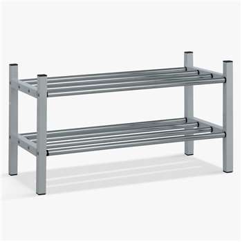 John Lewis & Partners 2 Tier Extendable Chrome Shoe Rack (H37 x W124 x D30cm)