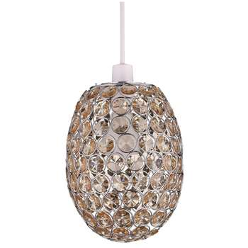 John Lewis & Partners Adele Easy-to-Fit Ceiling Shade, Natural/Chrome (H23.5 x W18.3 x D18.3cm)
