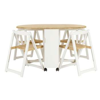 John Lewis & Partners Adler Butterfly Drop Leaf Folding Dining Table and Four Chairs, Smoke (H75.7 x W32 x D85cm)