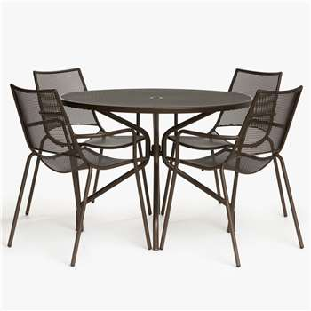 John Lewis & Partners Ala Mesh 4-Seat Garden Dining Table and Chairs Set, Bronze (H86 x W58 x D58cm)