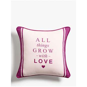 John Lewis & Partners 'All Things Grow With Love' Showerproof Outdoor Cushion, 43cm, Purple (H43 x W43 x D9cm)