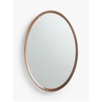 John Lewis & Partners Astrid Oval Mirror, Walnut Wood (H90 x W60 x D5.8cm)