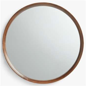 John Lewis & Partners Astrid Round Mirror, Walnut Wood (Diameter 70cm)