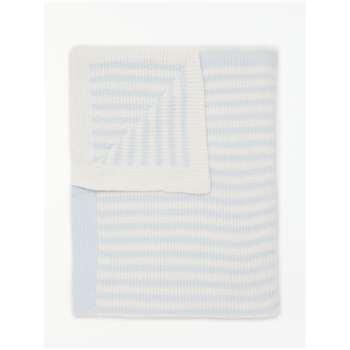 John Lewis & Partners Baby Chenille Stripe Blanket, Blue/White (H100 x W75cm)