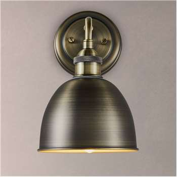 John Lewis & Partners Baldwin Bathroom Wall Light, Brass (H23 x W14 x D18.5cm)