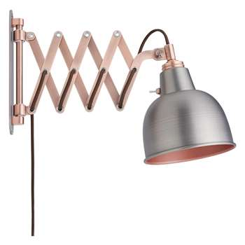 John Lewis & Partners Baldwin Extending Wall Light, Pewter (H28 x W16 x D22cm)
