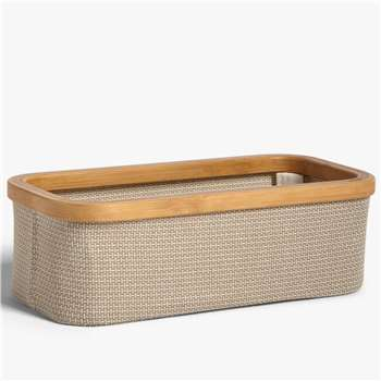 John Lewis & Partners Bamboo Rim Rectangular Storage Basket (H15 x W30 x D26cm)