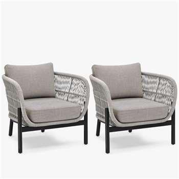John Lewis & Partners Basket Rope Garden Lounging Armchairs, Set of 2, Natural (H70 x W80 x D74cm)