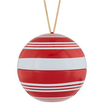 John Lewis & Partners Bauble Candy Cane Scented Candle, 140g (H8 x W8 x D8cm)