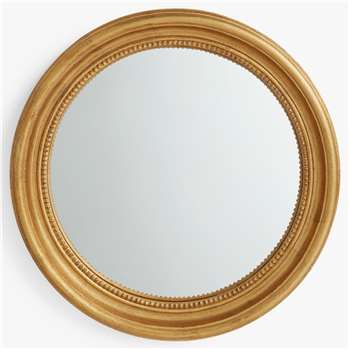 John Lewis & Partners Beaded Round Convex Mirror, Gold (Diameter 62cm)