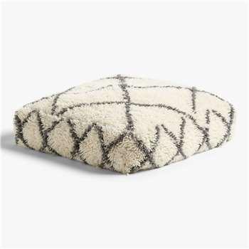 John Lewis & Partners Berber Floor Cushion, Mono (H25 x W79 x D79cm)