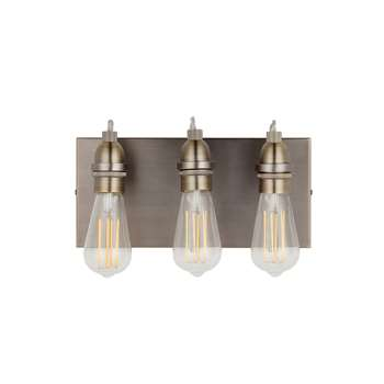 John Lewis & Partners Bistro 3 Arm Wall Light, Antique Brass (H18 x W32 x D12.5cm)