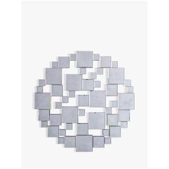 John Lewis & Partners Brielle Round Mirror, Dia.80cm, Silver (H80 x W80 x D2cm)