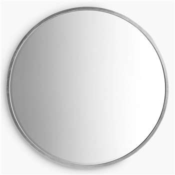 Cade Round Mirror, Antique Silver (Diameter 80cm)