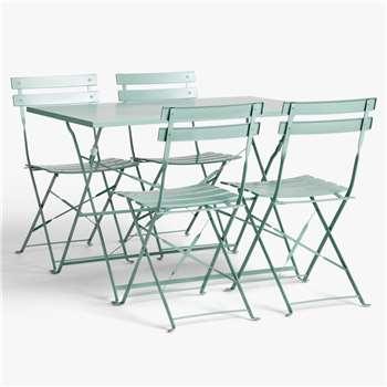 John Lewis & Partners Camden Garden 4-Seat Table & Chairs Set, Dusky Green (H71.5 x W109.5 x D69.5cm)