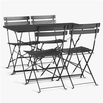 John Lewis & Partners Camden Garden 4-Seat Table & Chairs Set, Steel Grey (H71.5 x W109.5 x D69.5cm)