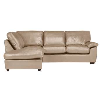 John Lewis & Partners Camden Leather LHF Chaise Corner End Sofa, Dark Leg, Nature Putty (H89 x W253 x D205cm)