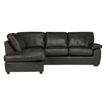 John Lewis & Partners Camden Leather LHF Chaise Corner End Sofa, Dark Leg, Winchester Anthracite (H89 x W253 x D205cm)