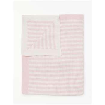 John Lewis & Partners Chenille Stripe Blanket, Pink/White (H100 x W75cm)