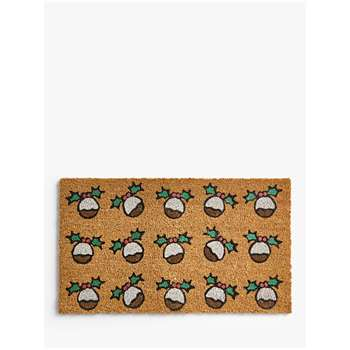 John Lewis & Partners Christmas Pudding Door Mat (H40 x W70cm)